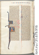 Купить «Fol. 455v, Thessalonians II, historiated initial P, Paul seated with a sword, talking to the bust of God above, c. 1275-1300. Southern France, Toulouse...», фото № 31679916, снято 14 февраля 2019 г. (c) age Fotostock / Фотобанк Лори