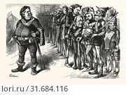 FALSTAFF HANCOCK HIS RAGGED REGIMENT. FALSTAFF. If I be not ashamed my soldiers, I am soused gurnet. No eye hath seen such scarecrows ! Engraving 1880, US, USA. (2013 год). Редакционное фото, фотограф Artokoloro / age Fotostock / Фотобанк Лори