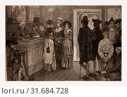WOMEN AT THE POLLS IN NEW JERSEY IN THE GOOD OLD TIMES--DRAWN BY HOWARD PYLE., 1880, 19th century engraving, USA, America (2014 год). Редакционное фото, фотограф Artokoloro / age Fotostock / Фотобанк Лори