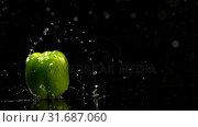 Купить «Bell pepper falling on water against black background 4k», видеоролик № 31687060, снято 18 июля 2018 г. (c) Wavebreak Media / Фотобанк Лори