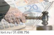 Купить « Digital animation of calculator, currency note and pen 4k», видеоролик № 31698756, снято 26 октября 2018 г. (c) Wavebreak Media / Фотобанк Лори