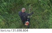 Купить «Мужчина косит траву ручной бензиновой газонокосилкой. Вид сверху», видеоролик № 31698804, снято 17 июля 2019 г. (c) А. А. Пирагис / Фотобанк Лори