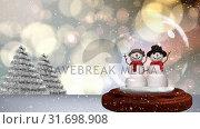 Купить «Cute Christmas animation of snowman couple against bokeh background 4k», видеоролик № 31698908, снято 26 октября 2018 г. (c) Wavebreak Media / Фотобанк Лори