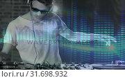 Купить «Digital animation showing smiling disco jockey mixing music in pub 4k», видеоролик № 31698932, снято 26 октября 2018 г. (c) Wavebreak Media / Фотобанк Лори