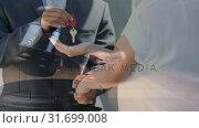 Купить «Digital animation of real estate agent giving key to customer 4k», видеоролик № 31699008, снято 26 октября 2018 г. (c) Wavebreak Media / Фотобанк Лори