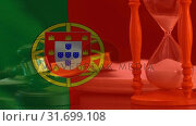 Digitally composite of Portugal Flag and hourglass 4k. Стоковое видео, агентство Wavebreak Media / Фотобанк Лори