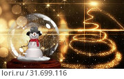 Купить «Cute Christmas animation of snowman in snow globe and spiral light trail 4k», видеоролик № 31699116, снято 26 октября 2018 г. (c) Wavebreak Media / Фотобанк Лори