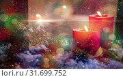 Купить «Candles and christmas decoration outside a window combined with falling snow», видеоролик № 31699752, снято 2 ноября 2018 г. (c) Wavebreak Media / Фотобанк Лори