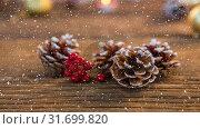 Купить «Falling snow with Christmas pine cone decoration», видеоролик № 31699820, снято 2 ноября 2018 г. (c) Wavebreak Media / Фотобанк Лори