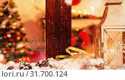 Купить «Christmas decoration outside a window combined with falling snow», видеоролик № 31700124, снято 2 ноября 2018 г. (c) Wavebreak Media / Фотобанк Лори