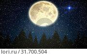 Купить «Falling snow and Christmas night starry sky with moon», видеоролик № 31700504, снято 2 ноября 2018 г. (c) Wavebreak Media / Фотобанк Лори