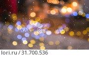 Купить «Falling snow with Christmas lights», видеоролик № 31700536, снято 2 ноября 2018 г. (c) Wavebreak Media / Фотобанк Лори