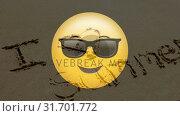 Купить «Yellow Smiley with text on beach », видеоролик № 31701772, снято 6 ноября 2018 г. (c) Wavebreak Media / Фотобанк Лори
