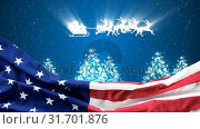Купить «Christmas animation of American flag and reindeer sleigh riding in the sky 4k», видеоролик № 31701876, снято 12 ноября 2018 г. (c) Wavebreak Media / Фотобанк Лори