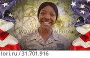 Купить «Conceptual digital animation showing children with American soldier on home returning 4k», видеоролик № 31701916, снято 12 ноября 2018 г. (c) Wavebreak Media / Фотобанк Лори