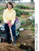 Купить «Girl in a yellow sweater digs beds with a shovel», фото № 31703256, снято 24 августа 2019 г. (c) Яков Филимонов / Фотобанк Лори