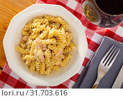 Купить «Spanish cuisine smoked salmon pasta served at plate on table», фото № 31703616, снято 23 июля 2019 г. (c) Яков Филимонов / Фотобанк Лори
