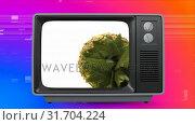 Купить «Retro TV showing pineapple on screen. There is vintage background with virtual square sizzling», видеоролик № 31704224, снято 5 марта 2019 г. (c) Wavebreak Media / Фотобанк Лори
