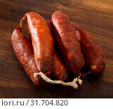 Купить «Chorizo sausages», фото № 31704820, снято 23 июля 2019 г. (c) Яков Филимонов / Фотобанк Лори