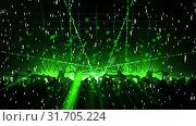 Купить «Green laser lights in the disco», видеоролик № 31705224, снято 26 марта 2019 г. (c) Wavebreak Media / Фотобанк Лори
