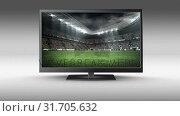 Купить «Flat screen TV with a football stadium on its screen», видеоролик № 31705632, снято 25 апреля 2019 г. (c) Wavebreak Media / Фотобанк Лори