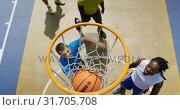 Купить «Basketball players playing basketball 4k», видеоролик № 31705708, снято 30 января 2019 г. (c) Wavebreak Media / Фотобанк Лори