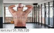 Купить «Athlete stretching his neck 4k», видеоролик № 31705720, снято 25 апреля 2019 г. (c) Wavebreak Media / Фотобанк Лори