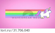 Купить «Animation of unicorn running with rainbow 4k», видеоролик № 31706040, снято 24 мая 2019 г. (c) Wavebreak Media / Фотобанк Лори