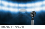 Купить «Animation of grey robot arm under spot lights», видеоролик № 31706048, снято 24 мая 2019 г. (c) Wavebreak Media / Фотобанк Лори