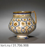 Jug, 1170-1220. Iran, Kashan, Seljuk Period. Fritware with luster-painted design, overall: 14.7 x 17 cm (5 13/16 x 6 11/16 in.). (2019 год). Редакционное фото, фотограф Liszt Collection / age Fotostock / Фотобанк Лори