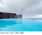The swimming pool at Krossnes (Krossneslaug). The Westfjords (Vestfirdir) in Iceland. Europe, Northern Europe, Iceland. Стоковое фото, фотограф Martin Zwick / age Fotostock / Фотобанк Лори