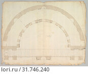 Cortile del Belvedere, Upper Courtyard, stair, plan (recto) blank (verso), early to mid-16th century , Dark brown ink, black chalk, and incised lines,... (2017 год). Редакционное фото, фотограф © Copyright Artokoloro Quint Lox Limited / age Fotostock / Фотобанк Лори