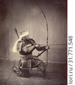 Samurai with Long Bow, Felice Beato (English, born Italy, 1832 - 1909), Japan, 1863, Albumen silver print (2018 год). Редакционное фото, фотограф © Liszt Collection / age Fotostock / Фотобанк Лори