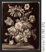 Elias Christoph Heiss (German, 1660 - 1731), Floral Still Life with a Sunflower, c. 1690, mezzotint on laid paper (2010 год). Редакционное фото, фотограф Artokoloro / age Fotostock / Фотобанк Лори