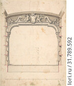 Design for the Proscenium Arch of a Theatre with Two Trumpeting Angels Holding a Cartouche, 1700–1780, Pen and black ink, brush with gray, brown and... (2017 год). Редакционное фото, фотограф © Copyright Artokoloro Quint Lox Limited / age Fotostock / Фотобанк Лори
