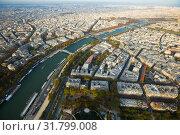 Купить «Panorama of Paris with Seine river», фото № 31799008, снято 10 октября 2018 г. (c) Яков Филимонов / Фотобанк Лори