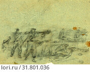 Купить «Wounded being carried away, 1864 May 6, drawing on olive paper pencil, 17.4 x 25.1 cm. (sheet), 1862-1865, by Alfred R Waud, 1828-1891, an american artist...», фото № 31801036, снято 7 августа 2014 г. (c) age Fotostock / Фотобанк Лори