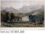 The Rocky Mountains, Lander's Peak, 1866, Hand-colored steel plated etching and engraving, Mount: 30 x 40 in. (76.2 x 101.6 cm), Prints, James Smillie... (2017 год). Редакционное фото, фотограф © Copyright Artokoloro Quint Lox Limited / age Fotostock / Фотобанк Лори