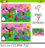 Cartoon Illustration of Searching Differences Between Pictures Educational Activity Game for Children with Colorful Birds Animal Characters Group. Стоковое фото, фотограф Zoonar.com/Igor Zakowski / easy Fotostock / Фотобанк Лори
