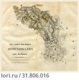 History of Hohenzollernschen Staaten Hechingen and Sigmaringen, etc, 19th century engraving (2014 год). Редакционное фото, фотограф Artokoloro / age Fotostock / Фотобанк Лори