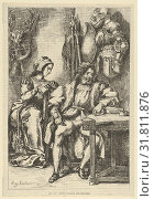 Goetz von Berlichingen Writing His Memoirs, after 1845, Wood engraving (or possibly stereotype), Block: 8 3/8 x 5 5/8 in. (21.3 x 14.3 cm), Prints, After... (2017 год). Редакционное фото, фотограф © Copyright Artokoloro Quint Lox Limited / age Fotostock / Фотобанк Лори