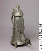 Купить «Guild Tankard (Zunftkanne) or Schleifkanne, 1604, with late 18th or early 19th century additions, German, Nuremberg, Pewter, spigot, and turncock of copper alloy., H. 62.2 cm, Metalwork», фото № 31820844, снято 27 апреля 2017 г. (c) age Fotostock / Фотобанк Лори