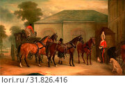 The Drag of Sir Watkin Williams Wynn Signed and dated in brown paint, lower center: 'J Ferneley | Melton Mowbray 1843.', John Ferneley, 1782-1860, British (2014 год). Редакционное фото, фотограф Artokoloro / age Fotostock / Фотобанк Лори