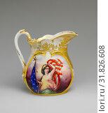 Купить «Pitcher, 1863, Made in New Orleans, Louisiana, United States, American, Porcelain, 8 1/2 in. (21.6 cm), Ceramics, Rudolph T. Lux (b. Germany, 1815–1868)», фото № 31826608, снято 8 мая 2017 г. (c) age Fotostock / Фотобанк Лори