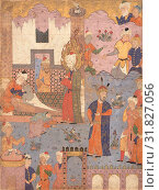 'Muhammad Revives the Sick Boy', Folio from a Falnama (Book of Omens) of Ja'far al-Sadiq, 1550s, Attributed to Iran, Qazvin, Ink, opaque watercolor, and... (2017 год). Редакционное фото, фотограф © Copyright Artokoloro Quint Lox Limited / age Fotostock / Фотобанк Лори