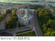 Вид на соборную мечеть теплым июльским утром (аэросъемка). Санкт-Петербург (2019 год). Редакционное фото, фотограф Виктор Карасев / Фотобанк Лори