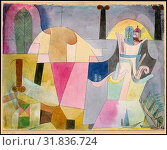 Black Columns in a Landscape, 1919, Watercolor and ink on paper mounted on cardboard, 9 1/2 × 12 3/8 in. (24.1 × 31.4 cm), Drawings, Paul Klee (German... (2017 год). Редакционное фото, фотограф © Copyright Artokoloro Quint Lox Limited / age Fotostock / Фотобанк Лори