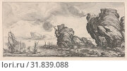Naval battle with ruined ship and smoking battlements, from 'Italian landscapes' (Diverse vedute designate in Fiorenza / Paysages italiens), ca. 1618â€... (2017 год). Редакционное фото, фотограф © Copyright Artokoloro Quint Lox Limited / age Fotostock / Фотобанк Лори