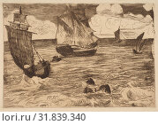 Marine, 1865–66, Etching, aquatint, roulette and bitten tone in brown ink on laid paper with partial watermark (fleur de lis in a cartouche), only state... (2017 год). Редакционное фото, фотограф © Copyright Artokoloro Quint Lox Limited / age Fotostock / Фотобанк Лори