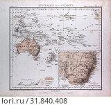 Купить «Australia and Oceania Map, atlas by Th. von Liechtenstern and Henry Lange, antique map 1869», фото № 31840408, снято 6 августа 2012 г. (c) age Fotostock / Фотобанк Лори